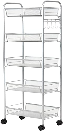 new arrival Giantex Storage discount Rack 2021 Trolley Cart with 5 Hooks, Home Kitchen Organizer Utility Baskets (5 Tier, Silver) online sale