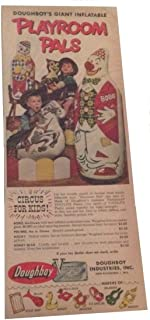 Doughboy Playroom Pals Toys Ad 1952 Circus for Kids, Bobo Clown Rocky Horse Vintage Ad