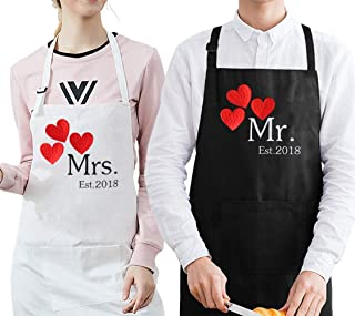 Fodiyaer Mr. and Mrs. 2018 Wedding Anniversary Couples Cooking Aprons, First Year for Couples, 1st Wedding Gift Idea