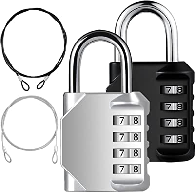 YuCool 2 Pack Combination Padlock, 4 Digit Lock Codes+ 2 Stainless Steel Security Tether for Protect your Storage - Pack of 4 (Black, Silver)