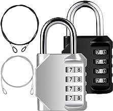 YuCool 2-pack combinatie hangslot, 4-cijferige slotcodes+2 roestvrij stalen veiligheidstintje voor bescherming van uw opsl...