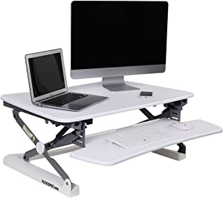 "FlexiSpot Adjustable Standing Desk -35"" wide platform Sit Stand up Desk Riser with Removable Keyboard Tray White"
