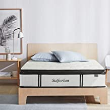Suiforlun Queen Mattress – 12 Inch Luxury Pillow Top Hybrid Mattress, Gel Memory Foam and Individually Encased Coils Inner...