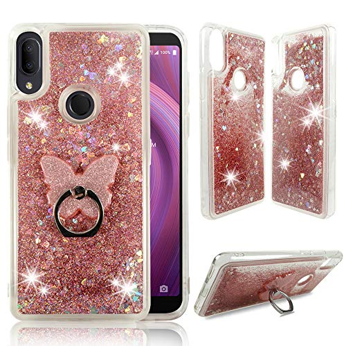 Alcatel 3V 2019 Clear Case, ZASE Liquid Glitter Sparkle Bling Phone Case for Alcatel 3V 6.7 inch (Metro,Tmobile) Cute Protective Cover Waterfall Floating Quicksand w/Phone Ring Holder (Pink Rose)