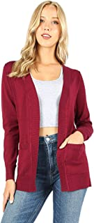 Sportoli Cardigans Women Open Front Knit Long Sleeve Pockets Sweater Cardigan