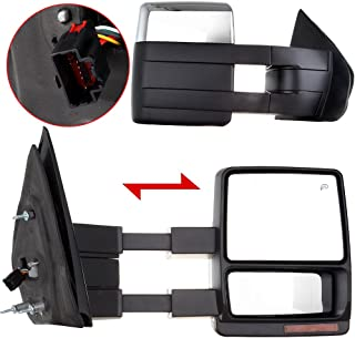 ECCPP Towing Mirrors Replacement fit for 2007-2014 Ford F150 Chrome Power Heated LED Turn Signal Puddle Lamp Cap Pickup Mirrors