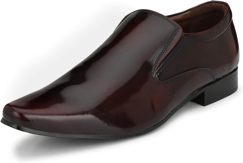 KINGKOMFORT Handmade Leather Sloane (KK002) Formal Slip On Cherry Red shoes