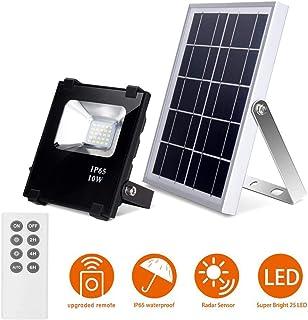 Led Luz de Inundación Solares con Mando a Distancia Exterior 400LM 25 LEDs 6500K 10W Impermeable Luces de Seguridad el Atardecer Hasta el Amanecer de Luz Solar Control Remoto para Jardín Patio