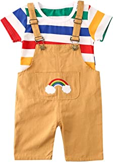 Toddler Baby Boy Girl Summer Colorful Striped T-Shirt Rainbow Print Suspender Pants 2Pcs Valentine Overalls Outfit 6M-4T