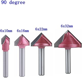 HOZLY A Set of 4pcs 6mm V-bit CNC Solid Carbide End Mill 3D Woodworking Tungsten Carbide Milling MDF Milling Cutter 90 Degree