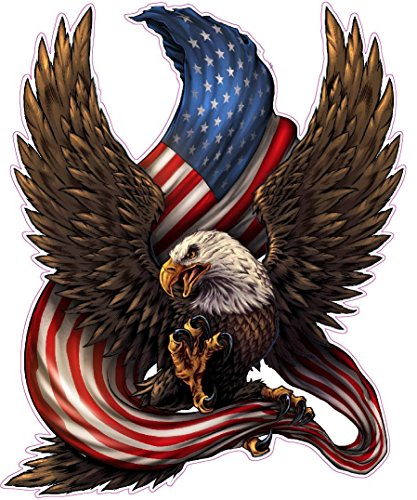American Bald Eagle American Flag Decal is 6.0 in Size