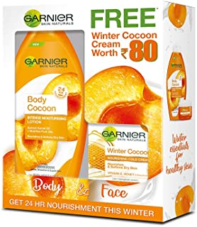 Garnier 250ml Body Cocoon Intense Moisturizing Lotion and 18g Winter Cocoon Nourishing Cold Cream for Normal Skin