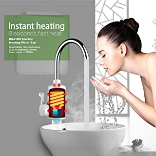 DSFGHE Electric Hot Water Heater Faucet 360°Rotating Elbow 3sec Tankless Thermal Electric Fast Heating Tap,SideWater
