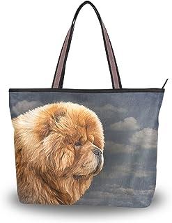 alaza Tote-Schulter-Beutel-Chow-Hund Vintage-Handtasche Groß