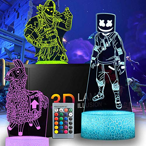 3D Fortnit Nachtlicht – 3 Muster 16 Farbwechsel Dekor Lampe mit Fernbedienung & Smart Touch, Weihnachten und Geburtstag Geschenke für Fortnite Fans