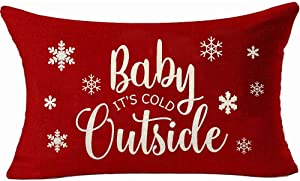 YBDXHA Red Christmas Happy Baby It's Cold Outside Throw Pillow Case Cushion Cover Home Sofa Decorative 12 X 20 Inch (10)