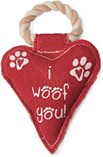 Pavilion Gift Company 45610 Pavilion's Pets-Red Heart Shaped Canvas and Rope Dog Squeaky Toy-I Woof You