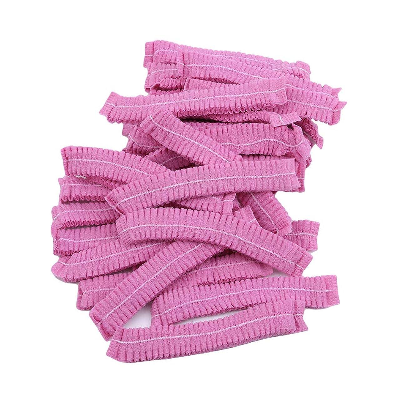答え代数メンバーLJSLYJ 100ピースマイクロブレードパーマネントメイクアップ使い捨てヘアネットキャップ滅菌帽子眉毛スタイリングツールアクセサリー、ピンク