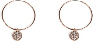 Crystal Rose Gold Tone Drop Disc Hoop Earrings