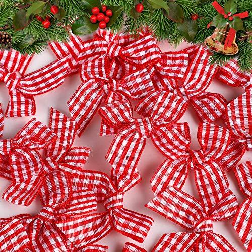 80 Piezas Mini Lazos de Cinta de Guinga de Navidad Lazo de Cinta a Cuadros Manualidades para Costura, Scrapbooking, Boda