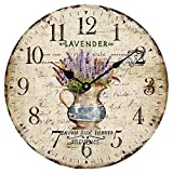 Wood Wall Clock 12 'Vintage French Country Print Lavender in Pot Romantic Shabby Chic Large Decorative Roman Numerals Analog Battery Operated Silent for Home Decoration