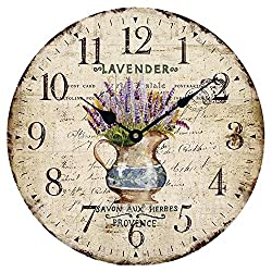 Wood Wall Clock 12 Vintage French Country Print Lavender in Pot Romantic Shabby Chic Large Decorative Roman Numerals Analog Battery Operated Silent for Home Decoration