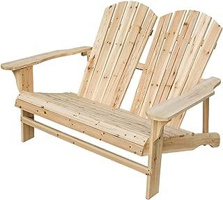 LOKATSE HOME Wooden Double Adirondack Chair Loveseat, Natural