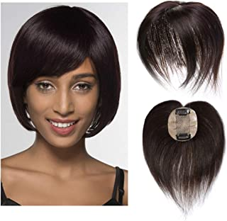 Silk Base Real Human Hair Topper for Women Top Hairpiece Clips in Crown Hand Made Toupee Replacement Extentions for Hair Loss Thinning Hair Cover Gray Hair #02 Dark Brown 10