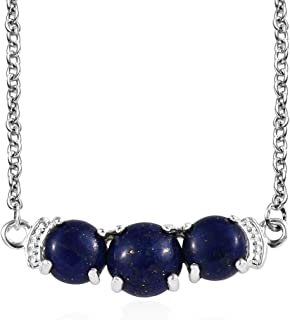 """925 Sterling Silver Round Lapis Lazuli Trilogy Bar Necklace for Women Mothers Day Gifts Jewelry 18"""""""