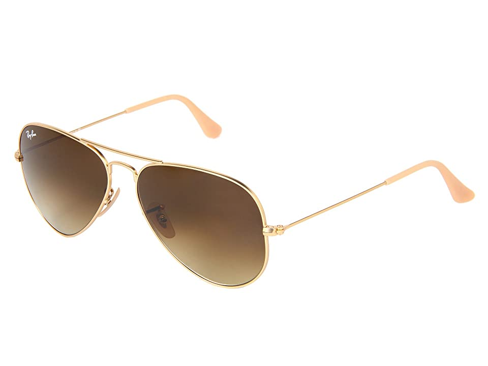 Ray-Ban RB3025 Original Aviator 58mm (Matte Gold/Gradient Brown) Metal Frame Fashion Sunglasses
