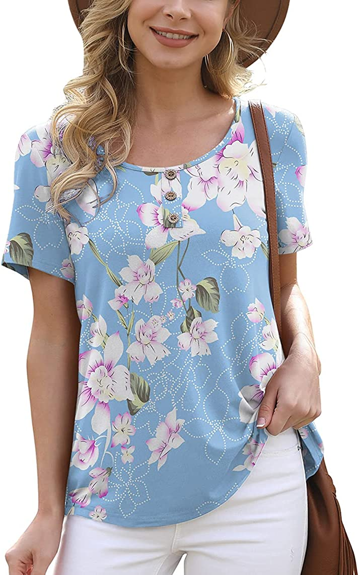 Easy-to-use Feiersi Women's Summer Floral Tunic Limited time trial price Casual Short Sle Blouse Tops