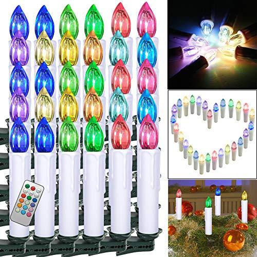 Froadp 40 Stück Dimmbare LED Mini Weihnachtskerzen mit Fernbedienung Kabellos Christbaumkerzen für Weihnachtsbaum deko Geburtstagsdeko Kerzen Satz(Bunt)