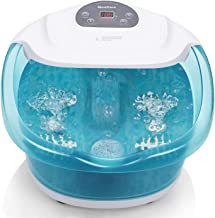 Foot Spa/Bath Massager with Heat Bubbles Vibration 3 in 1 Function, 4 Massaging Rollers Pedicure for Tired Feet Stress Rel...