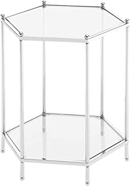 Convenience Concepts Royal Crest Hexagonal Chrome End Table, Clear Glass / Chrome Frame
