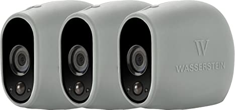 3 x Silicone Skins Compatible with Arlo HD Smart Security - 100% Wire-Free Cameras — by Wasserstein (Grey)
