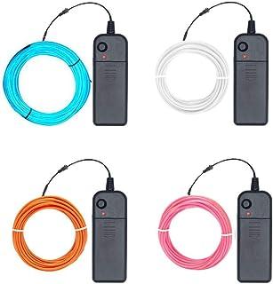 EL de 5 m flexible de luz de neón,(Azul-celeste, Rosa, Naranja, Blanco) luz estroboscopica neón 3 modos de luz Controladores de paquetes de cables de electroluminiscencia de batería
