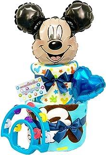 ディズニー おむつケーキ パンパース 出産祝い スマイルポップ (ブルー(男の子), おむつS(23枚))