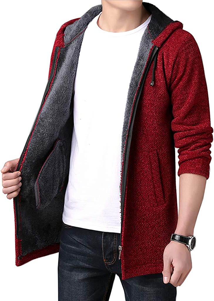 FLYF Mens Knitted Cardigan Zip up Warm Sweater Long Knit Chunky Cardigans