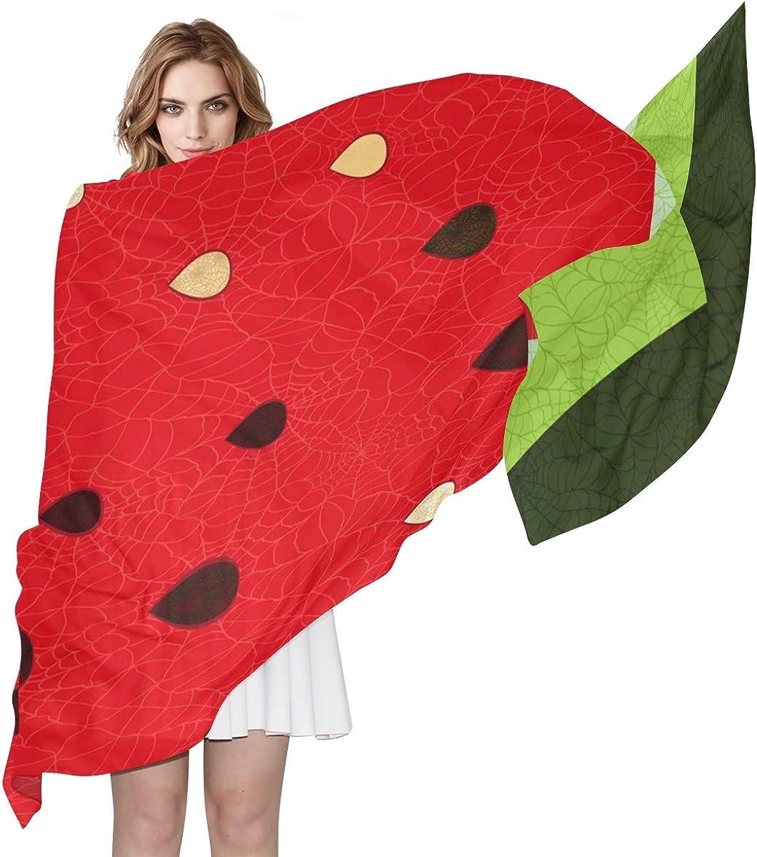 XLING Fashion Scarf Fruit Watermelon Texture Pattern Long Lightweight Sunscreen Scarf Shawl Wrap Muffler Neckerchief for Women Men