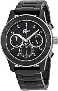 Lacoste Charlotte Nicosia Chronograph Black Dial Black PVD Ladies Watch 2000806