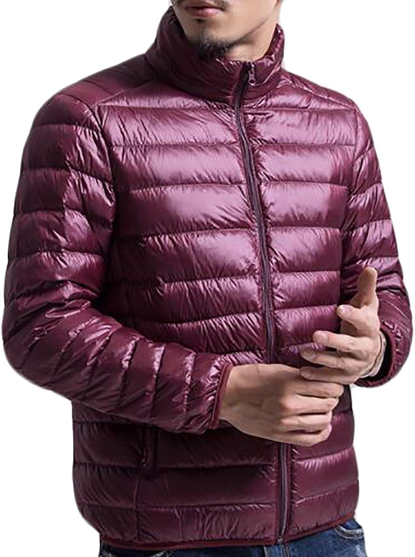 Oberora-Men Winter Lightweight Packable Stand Collar Puffer Down Coats Jackets