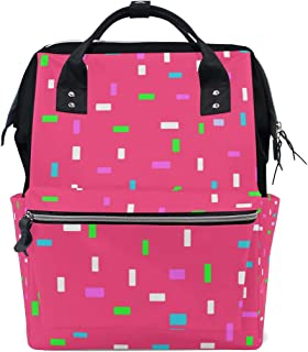 MIMUTI バックパック ピンクドーナツ釉薬カラフルな装飾的な振りかける 男女兼用 通学 通勤 旅行 スポーツ バッグ