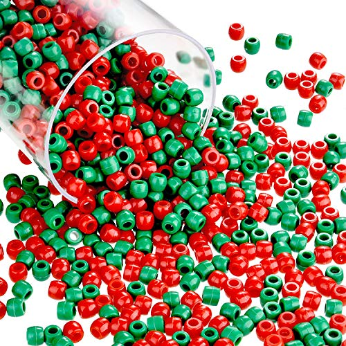 1000 Pieces Christmas Pony Beads Plastic Craft Beads Christmas Round Beads with Box for Christmas Decoration DIY Crafts Jewelry Making