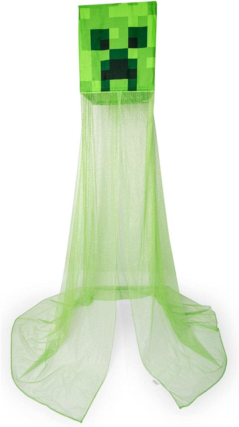 Minecraft Green Creeper Kids Bed Canopy, Hanging Curtain Netting