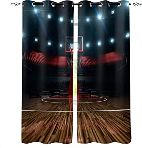 Teen Room Decor Polyester Curtains, Professional Basketball Arena Stadium Before Game Championship Sports Image,2 Panel Drapes/Window Treatment for Living Room/Bedroom/Office,55 W x 39 L inches