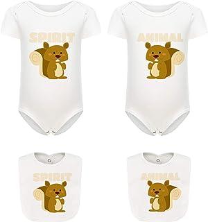 culbutomind Baby Jungen Mädchen Zwillings-Tiere Geschenk lustig Baby Body Cute Baby Shower Onesie Strampler mit Lätzchen Set
