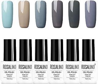 ROSALIND serie de color gris gel semipermanente esmalte de uñas Soak Off UV LED diseño de dedo 6pcs 7ml
