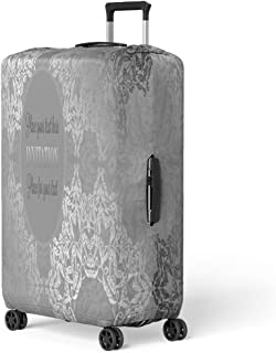 Pinbeam Luggage Cover Luxury Lace in Antique Gray and Silver Colors Travel Suitcase Cover Protector Baggage Case Fits 26-28 inches