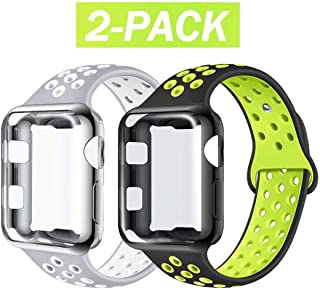 ADWLOF Compatible with Apple Watch Band with Case 42mm, Silicone Replacement Strap with Screen Protector Cover for Wristband for iWatch Series 3/2/1,Nike+,Sport,Edition,S/M,M/L,BlackVolt/SilverWhite