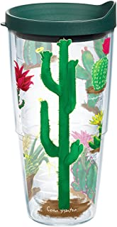 Tervis 1179853 Cactus of the Desert Insulated Tumbler with Wrap and Hunter Green Lid, 24oz, Clear